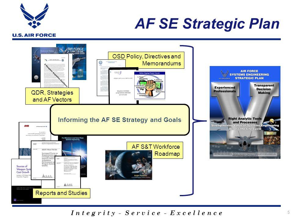 I n t e g r i t y - S e r v i c e - E x c e l l e n c e AF SE Strategic Plan 5 AF S&T Workforce Roadmap OSD Policy, Directives and Memorandums Reports and Studies QDR, Strategies and AF Vectors Informing the AF SE Strategy and Goals