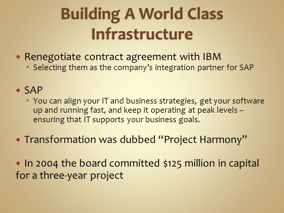 Renegotiate contract agreement with IBM  Selecting them as the company's integration partner for SAP SAP  You can align your IT and business strategies, get your software up and running fast, and keep it operating at peak levels -- ensuring that IT supports your business goals.