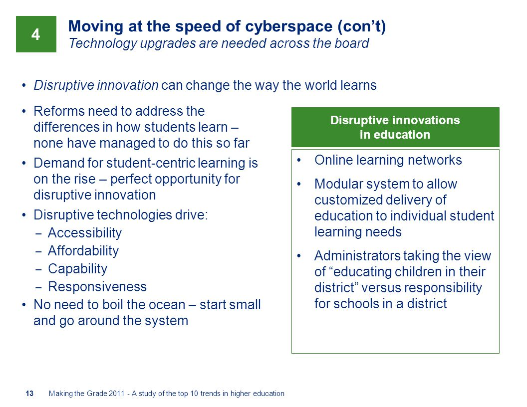 Moving at the speed of cyberspace (con't) Technology upgrades are needed across the board Disruptive innovation can change the way the world learns Ma