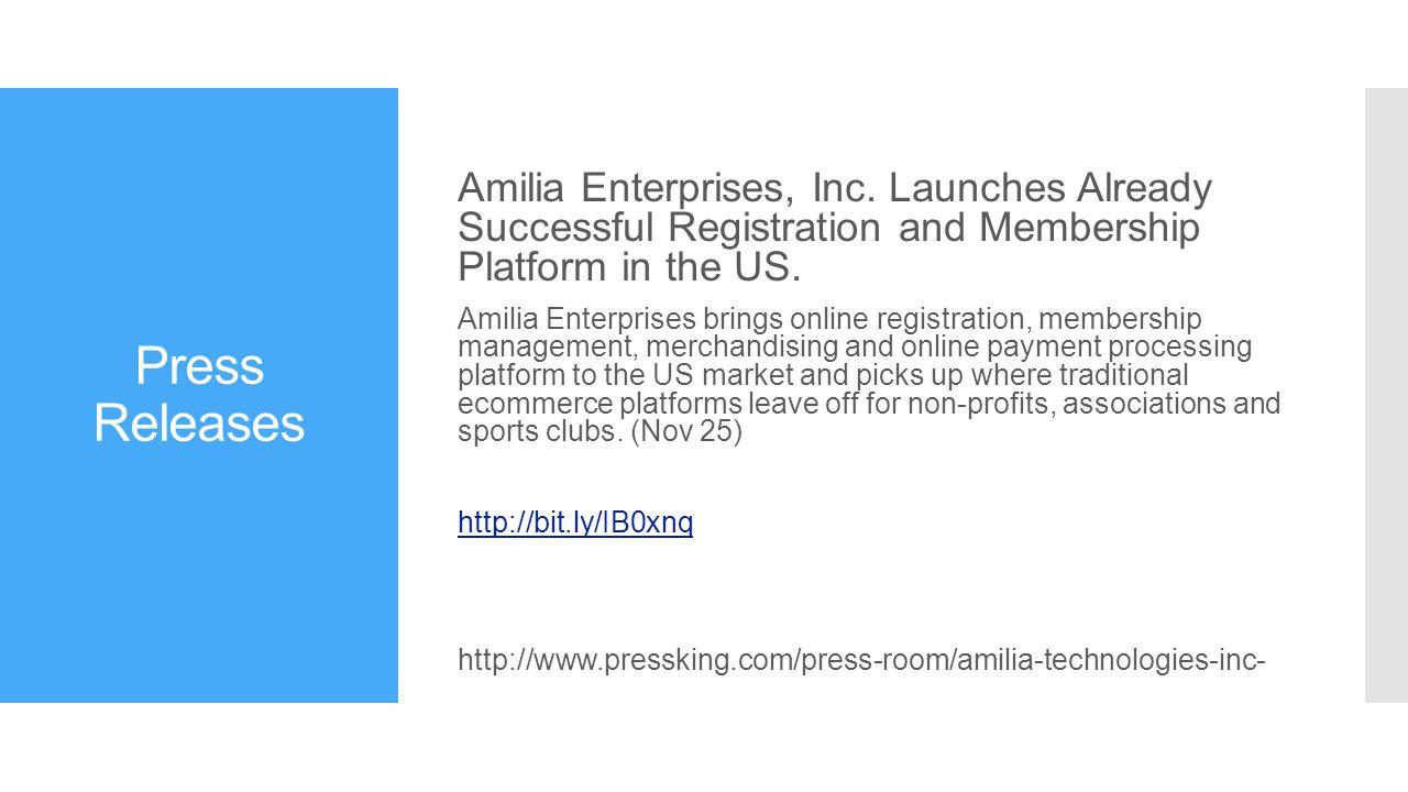 Press Releases Amilia Enterprises, Inc.