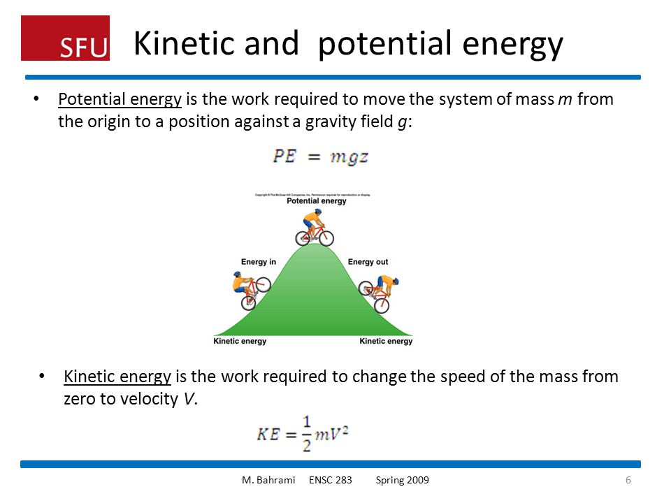 Kinetic and potential energy Potential energy is the work required to move the system of mass m from the origin to a position against a gravity field