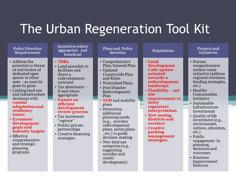 The Urban Regeneration Tool Kit Policy Direction Requirements Address the potential or threat of conversion of dedicated open spaces to other uses - a