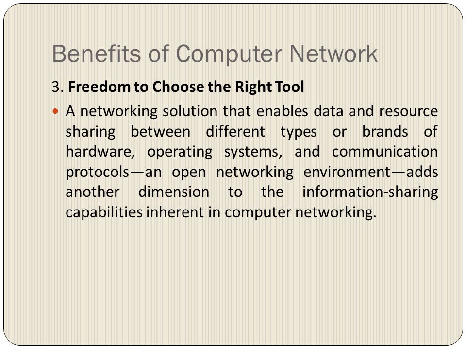 Benefits of Computer Network 3.