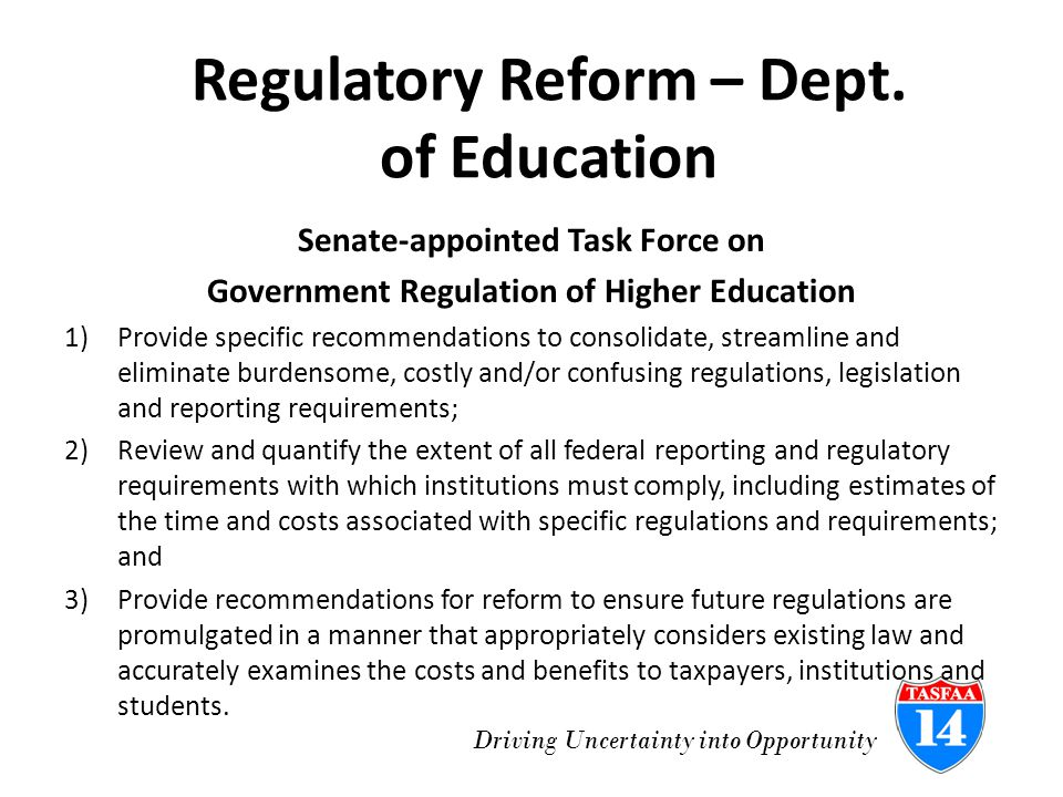 Driving Uncertainty into Opportunity Regulatory Reform – Dept.