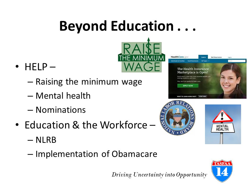 Driving Uncertainty into Opportunity Never-ending Neg Reg Program Integrity Issues – State Authorization of distance education; authorization of foreign institutions; campus debit cards; clock hour to credit hour; retaking coursework; PLUS Loans Violence Against Women Act/Campus SAVE – Last session last week Gainful Employment – Proposed regs issued March 14 – over 800 pages long Title II – teacher preparation – Concluded without consensus nearly 2 years ago