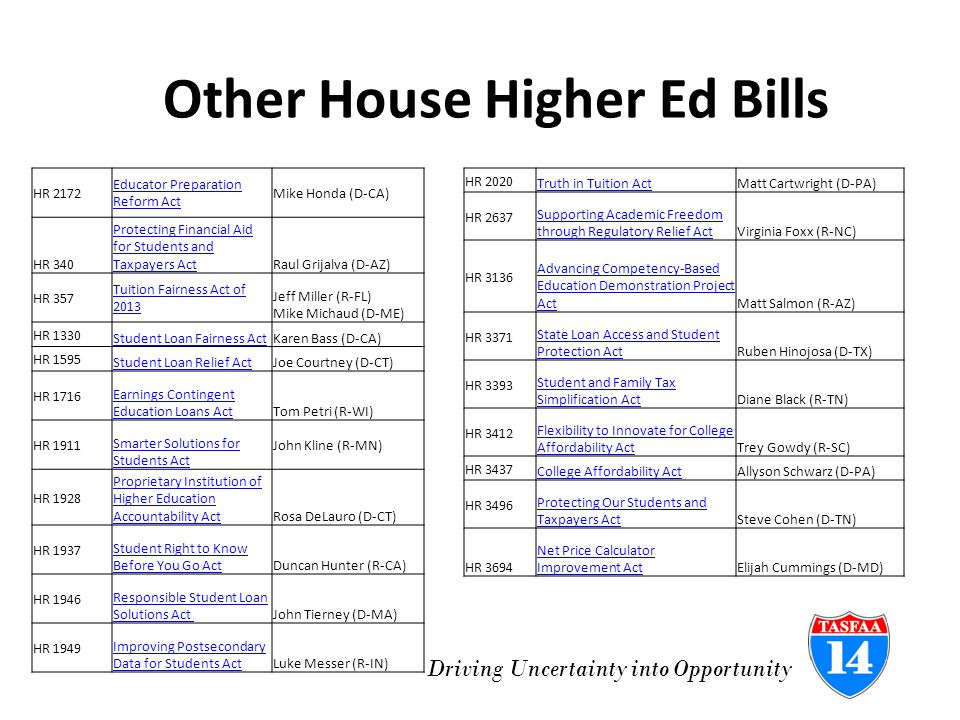 Driving Uncertainty into Opportunity Other House Higher Ed Bills HR 2172 Educator Preparation Reform Act Mike Honda (D-CA) HR 340 Protecting Financial Aid for Students and Taxpayers ActRaul Grijalva (D-AZ) HR 357 Tuition Fairness Act of 2013 Jeff Miller (R-FL) Mike Michaud (D-ME) HR 1330 Student Loan Fairness ActKaren Bass (D-CA) HR 1595 Student Loan Relief ActJoe Courtney (D-CT) HR 1716 Earnings Contingent Education Loans ActTom Petri (R-WI) HR 1911 Smarter Solutions for Students Act John Kline (R-MN) HR 1928 Proprietary Institution of Higher Education Accountability ActRosa DeLauro (D-CT) HR 1937 Student Right to Know Before You Go ActDuncan Hunter (R-CA) HR 1946 Responsible Student Loan Solutions Act John Tierney (D-MA) HR 1949 Improving Postsecondary Data for Students ActLuke Messer (R-IN) HR 2020 Truth in Tuition ActMatt Cartwright (D-PA) HR 2637 Supporting Academic Freedom through Regulatory Relief ActVirginia Foxx (R-NC) HR 3136 Advancing Competency-Based Education Demonstration Project ActMatt Salmon (R-AZ) HR 3371 State Loan Access and Student Protection ActRuben Hinojosa (D-TX) HR 3393 Student and Family Tax Simplification ActDiane Black (R-TN) HR 3412 Flexibility to Innovate for College Affordability ActTrey Gowdy (R-SC) HR 3437 College Affordability ActAllyson Schwarz (D-PA) HR 3496 Protecting Our Students and Taxpayers ActSteve Cohen (D-TN) HR 3694 Net Price Calculator Improvement ActElijah Cummings (D-MD)