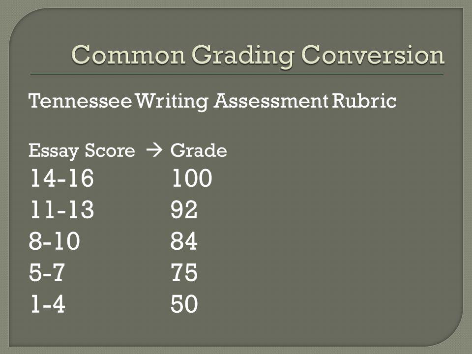 Tennessee Writing Assessment Rubric Essay Score  Grade 14-16100 11-1392 8-1084 5-7 75 1-450