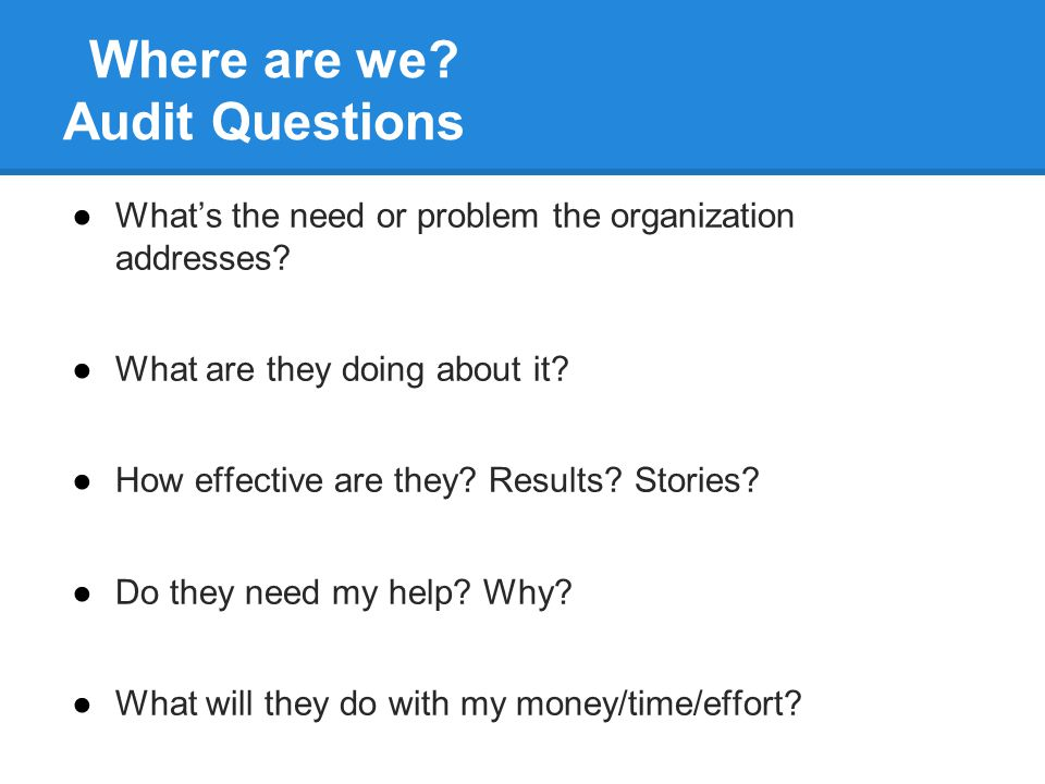 Where are we. Audit Questions ●What's the need or problem the organization addresses.