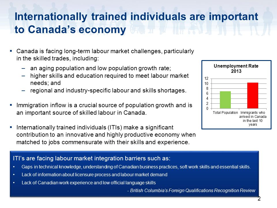 2 Internationally trained individuals are important to Canada's economy  Canada is facing long-term labour market challenges, particularly in the skilled trades, including: –an aging population and low population growth rate; –higher skills and education required to meet labour market needs; and –regional and industry-specific labour and skills shortages.