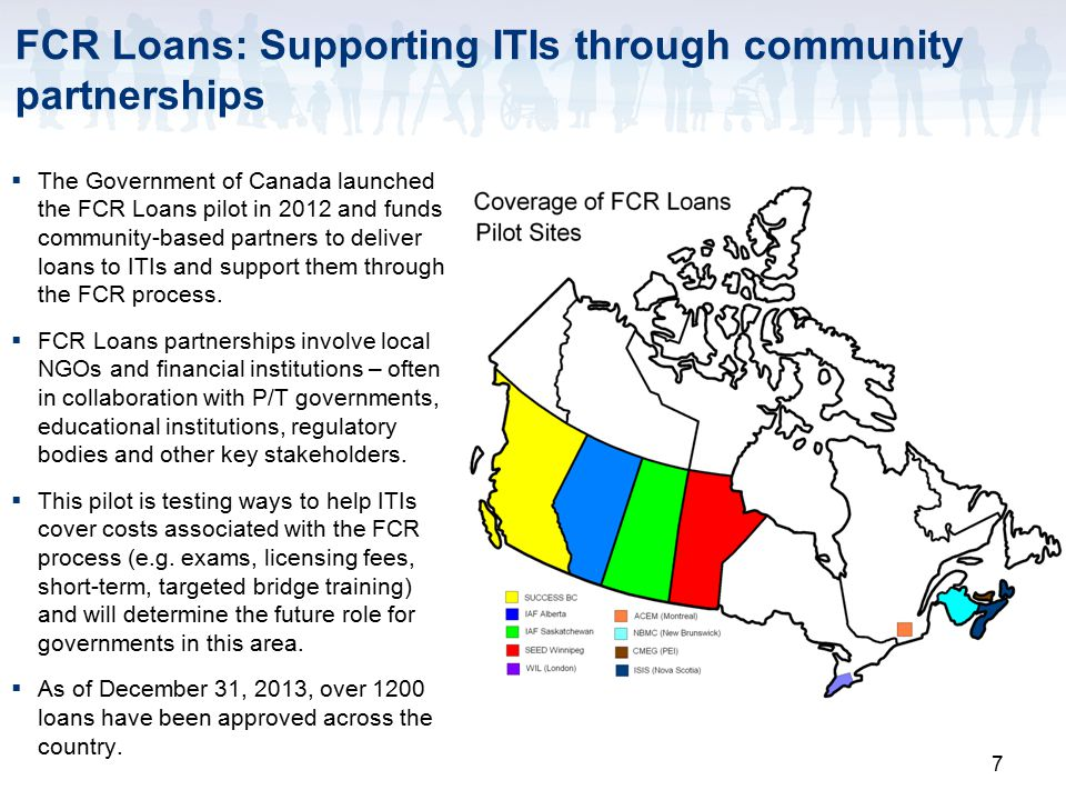 7 FCR Loans: Supporting ITIs through community partnerships  The Government of Canada launched the FCR Loans pilot in 2012 and funds community-based partners to deliver loans to ITIs and support them through the FCR process.