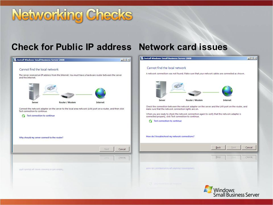 Check for Public IP addressNetwork card issues