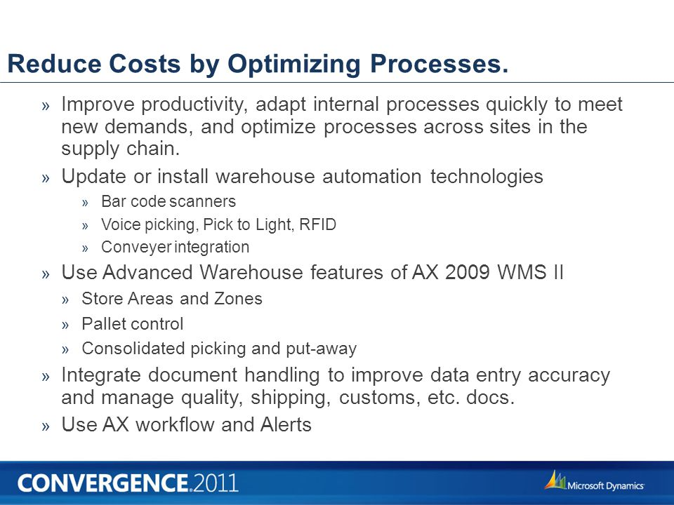 Reduce Costs by Optimizing Processes.