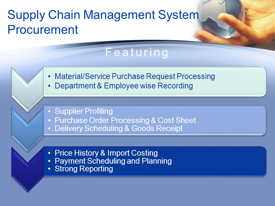 Supply Chain Management System Inventory Featuring Equipment Coding Goods Receipt against Purchase Order Warehouse Management Multiple Types of Transactions Material Issue Request Goods Issue Transactions Tracking Re-order Level Online Approvals and Processing Real-time Reporting of Materials Usage and Availability