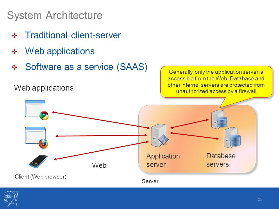 System Architecture  Traditional client-server  Web applications  Software as a service (SAAS) 25 Database servers Application server Client (Web browser) Web Generally, only the application server is accessible from the Web.