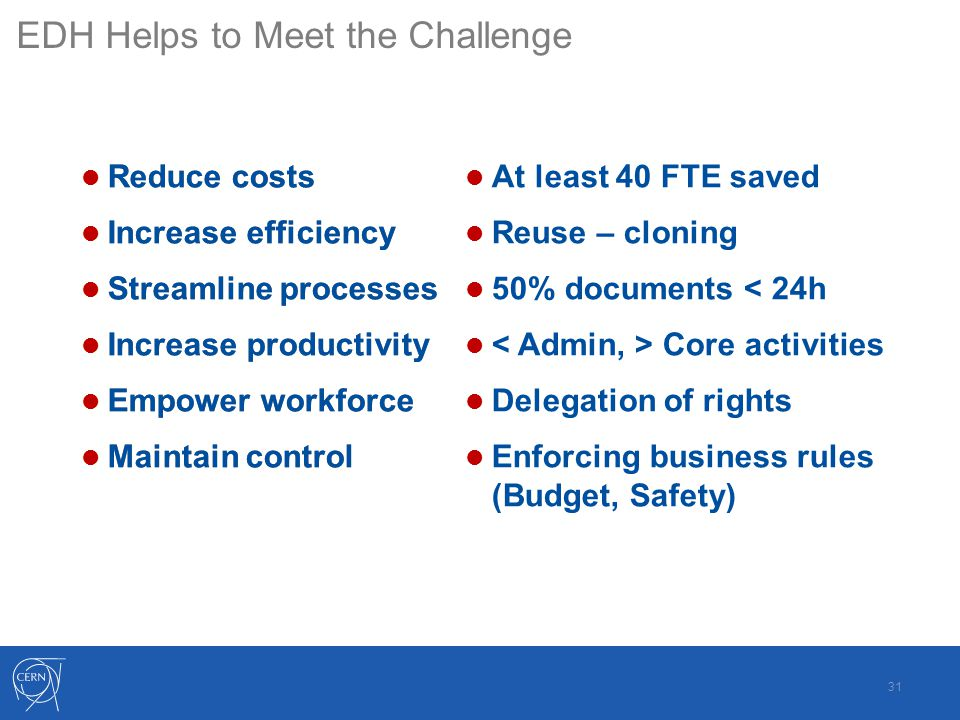 Reduce costs Increase efficiency Maintain control Streamline processes Increase productivity Empower workforce Reduce costs Increase efficiency Maintain control Streamline processes Increase productivity Empower workforce At least 40 FTE saved Reuse – cloning 50% documents < 24h Core activities Delegation of rights Enforcing business rules (Budget, Safety) EDH Helps to Meet the Challenge 31