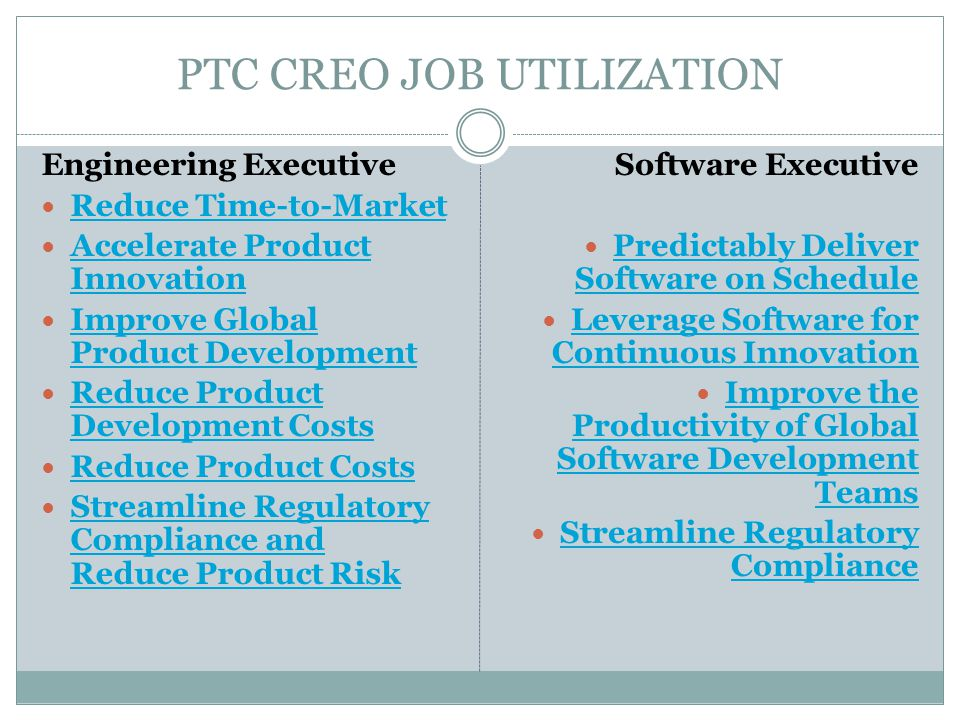 PTC CREO JOB UTILIZATION Engineering Executive Reduce Time-to-Market Accelerate Product Innovation Accelerate Product Innovation Improve Global Produc