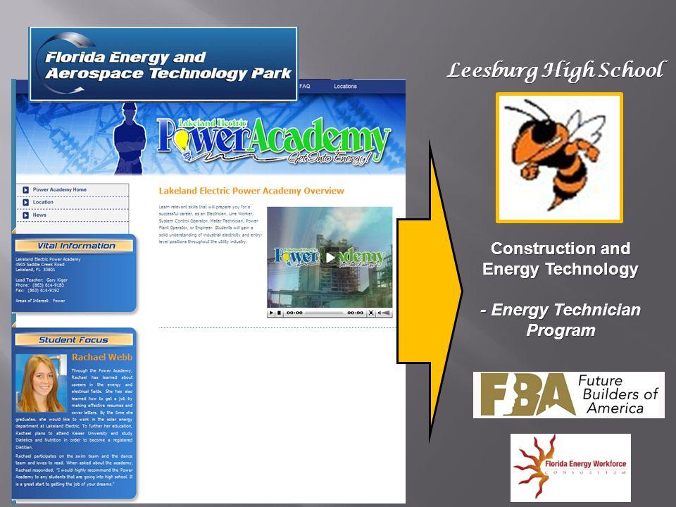 Leesburg High School Construction and Energy Technology - Energy Technician Program
