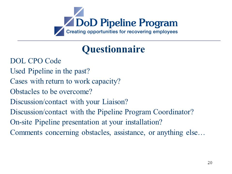 20 Questionnaire DOL CPO Code Used Pipeline in the past.