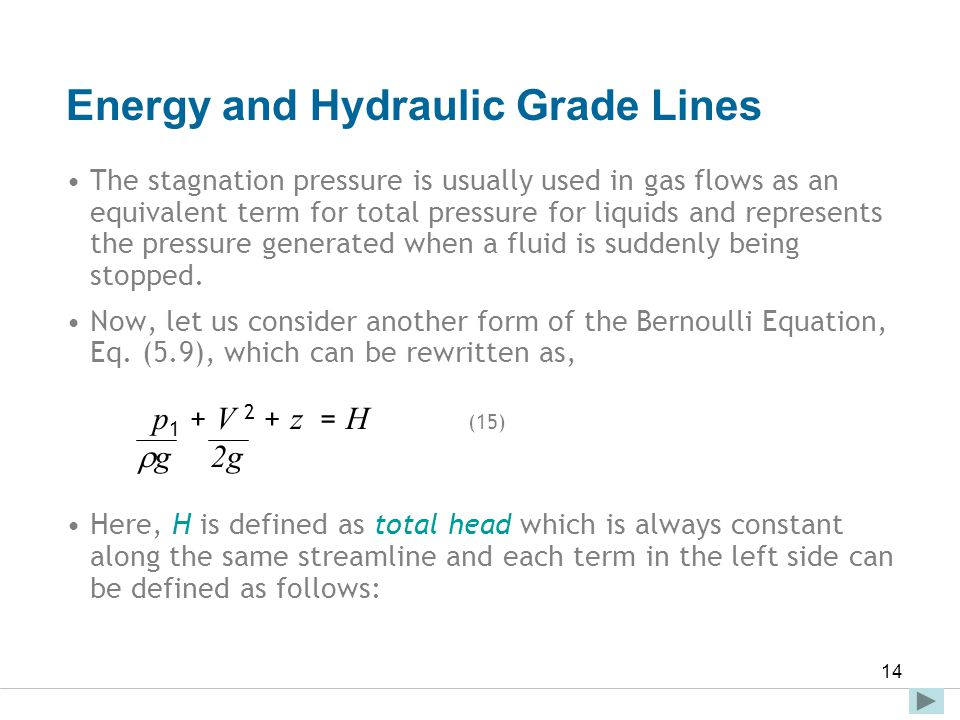 Faculty of Engineering and Technical Studies 14 Energy and Hydraulic Grade Lines The stagnation pressure is usually used in gas flows as an equivalent