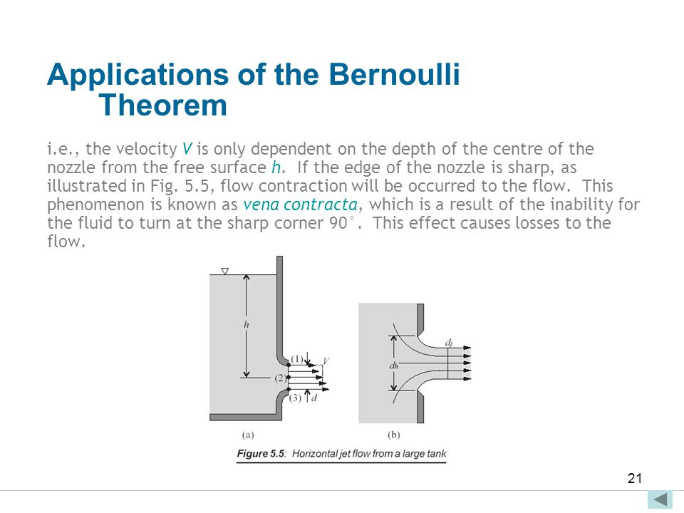 Faculty of Engineering and Technical Studies 21 Applications of the Bernoulli Theorem i.e., the velocity V is only dependent on the depth of the centr