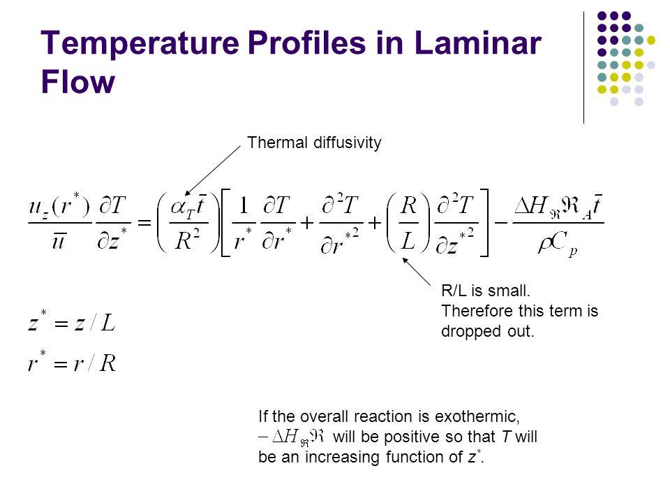Temperature Profiles in Laminar Flow Thermal diffusivity R/L is small.