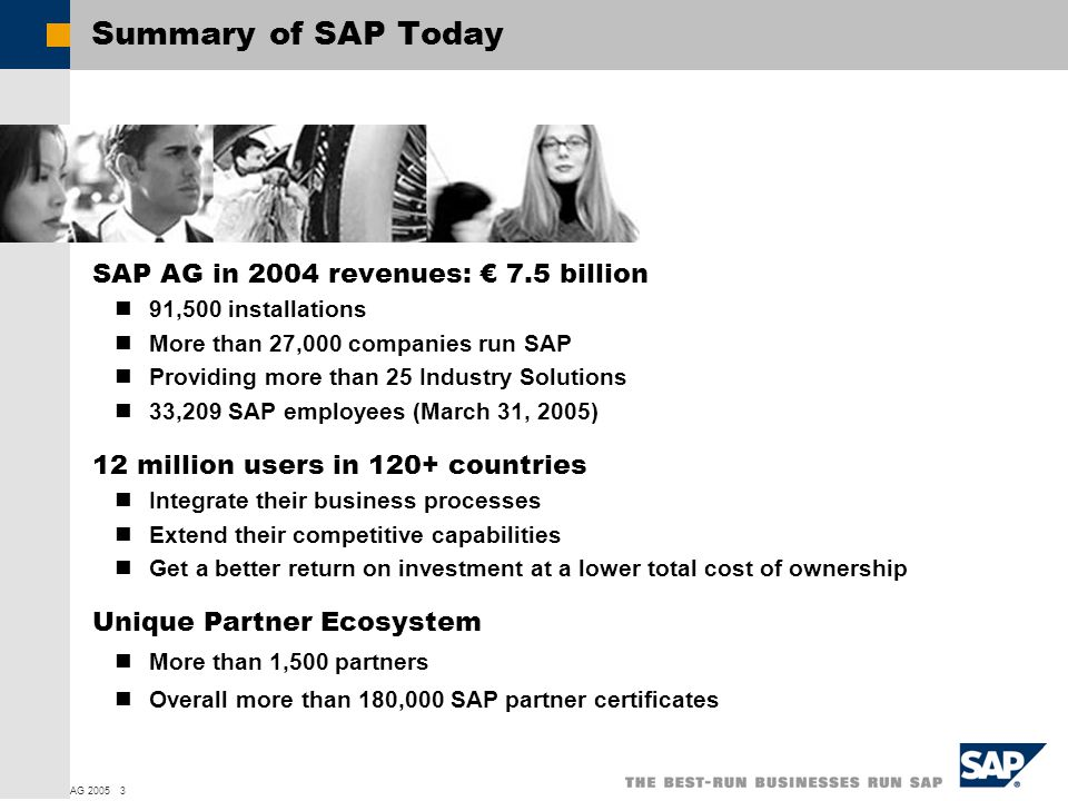  SAP AG 2005 3 Summary of SAP Today SAP AG in 2004 revenues: € 7.5 billion 91,500 installations More than 27,000 companies run SAP Providing more than 25 Industry Solutions 33,209 SAP employees (March 31, 2005) 12 million users in 120+ countries Integrate their business processes Extend their competitive capabilities Get a better return on investment at a lower total cost of ownership Unique Partner Ecosystem More than 1,500 partners Overall more than 180,000 SAP partner certificates