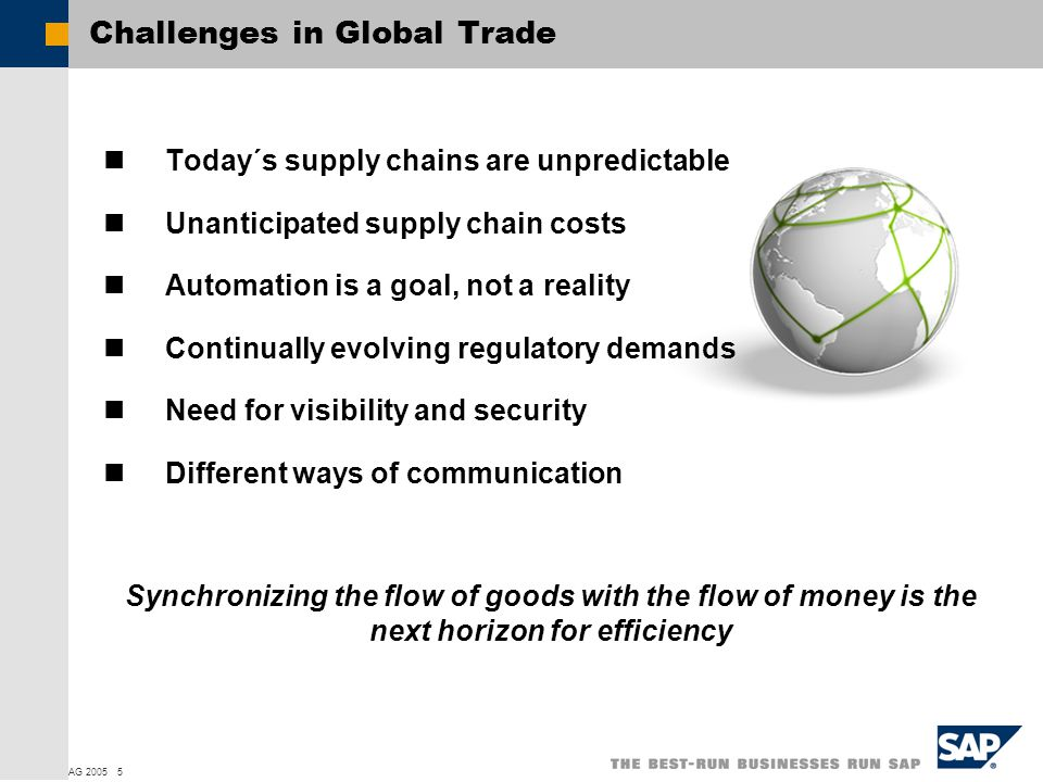  SAP AG 2005 5 Challenges in Global Trade Today´s supply chains are unpredictable Unanticipated supply chain costs Automation is a goal, not a reality Continually evolving regulatory demands Need for visibility and security Different ways of communication Synchronizing the flow of goods with the flow of money is the next horizon for efficiency
