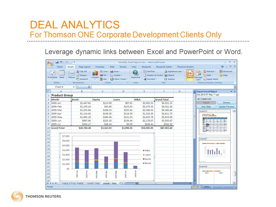 DEAL ANALYTICS For Thomson ONE Corporate Development Clients Only Leverage dynamic links between Excel and PowerPoint or Word.