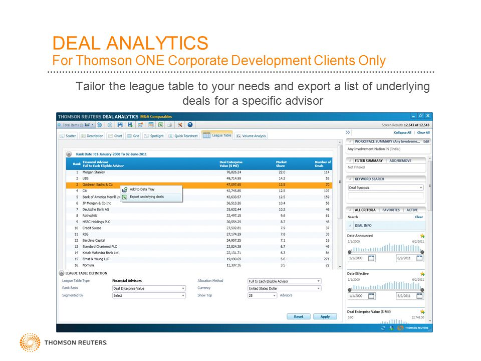 DEAL ANALYTICS For Thomson ONE Corporate Development Clients Only Export league tables to Excel and update them using Spreadsheet Link.
