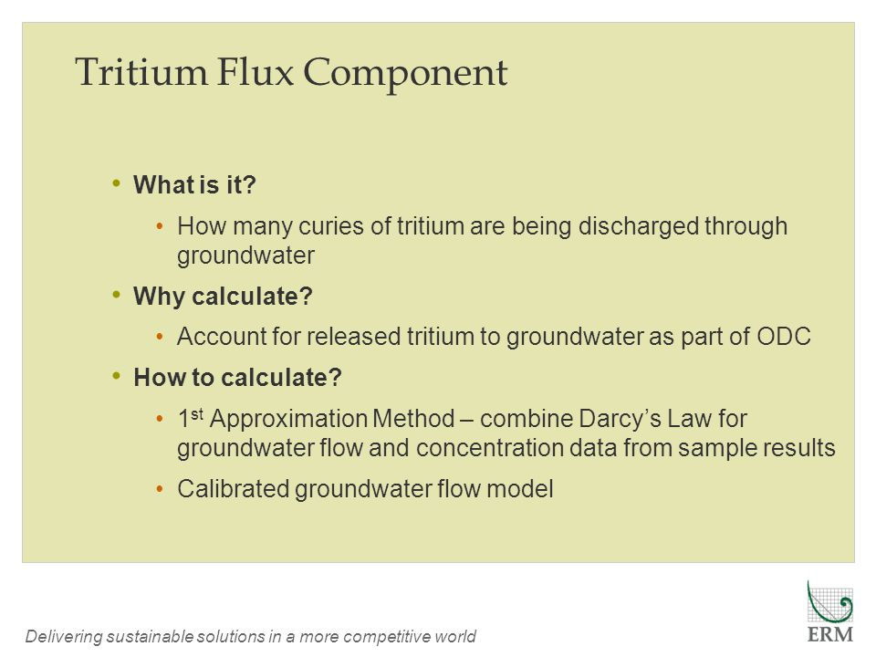 Delivering sustainable solutions in a more competitive world Tritium Flux Component What is it.