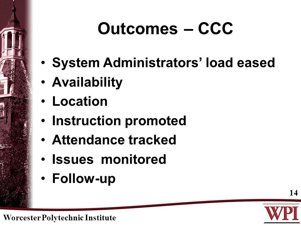 Worcester Polytechnic Institute 14 Outcomes – CCC System Administrators' load eased Availability Location Instruction promoted Attendance tracked Issu
