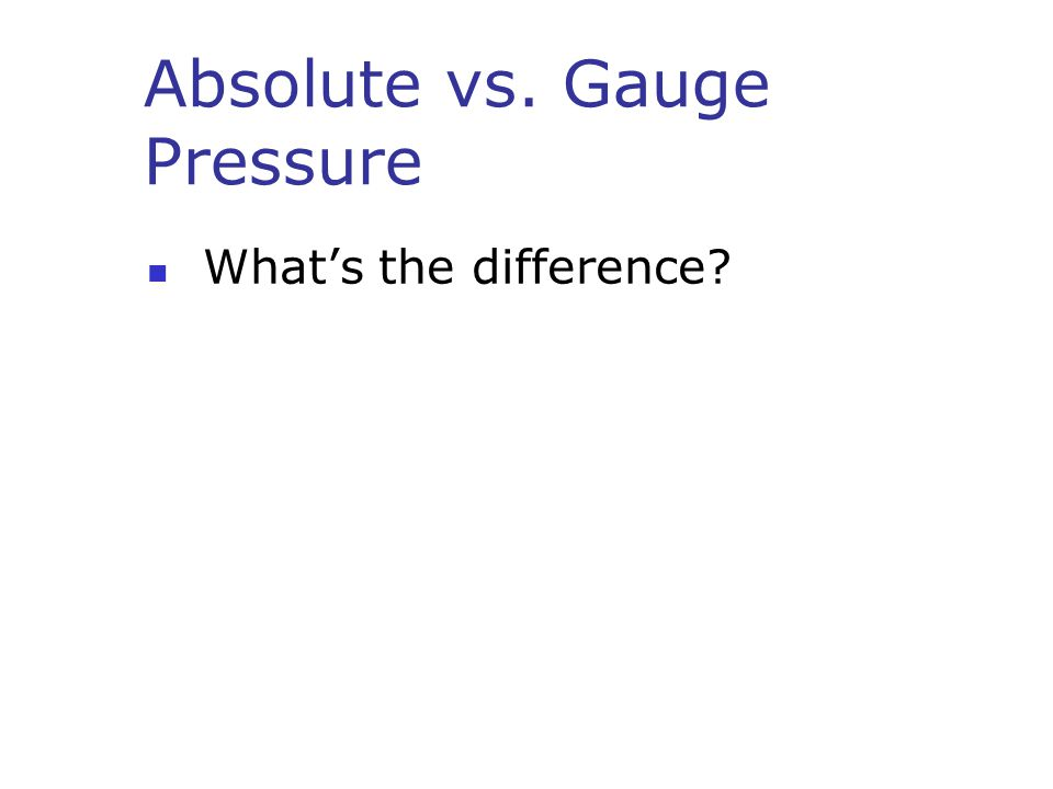 Absolute vs. Gauge Pressure What's the difference?
