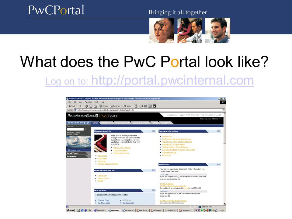 What does the PwC Portal look like Log on to: http://portal.pwcinternal.com