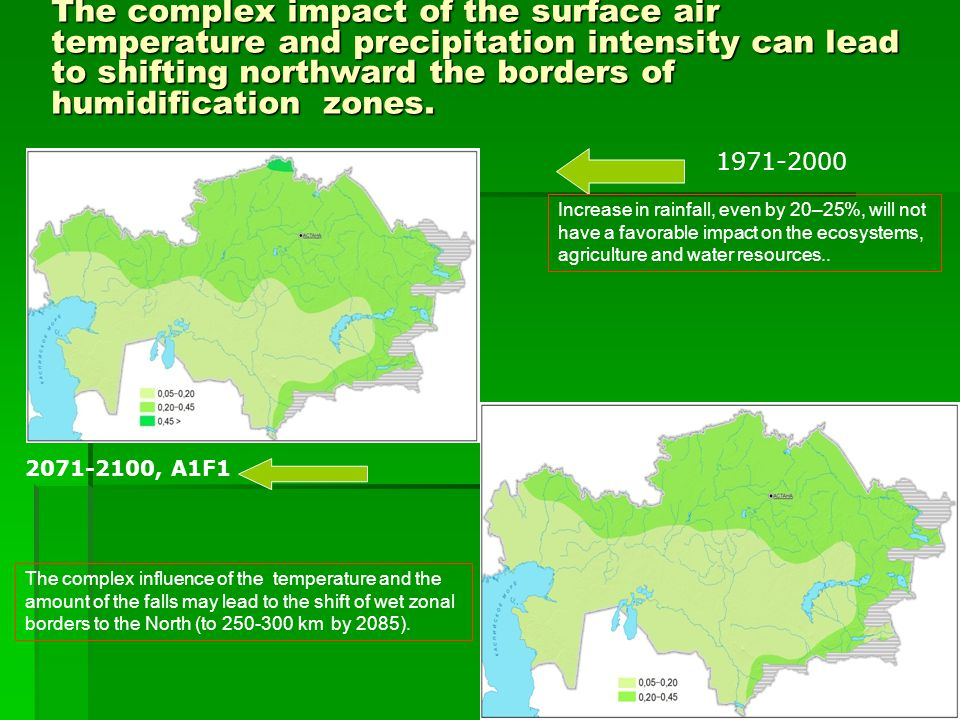 7 The complex impact of the surface air temperature and precipitation intensity can lead to shifting northward the borders of humidification zones.