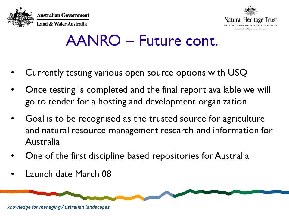 AANRO – Future cont.