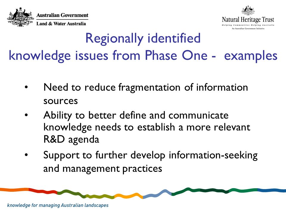 Regionally identified knowledge issues from Phase One - examples Need to reduce fragmentation of information sources Ability to better define and communicate knowledge needs to establish a more relevant R&D agenda Support to further develop information-seeking and management practices