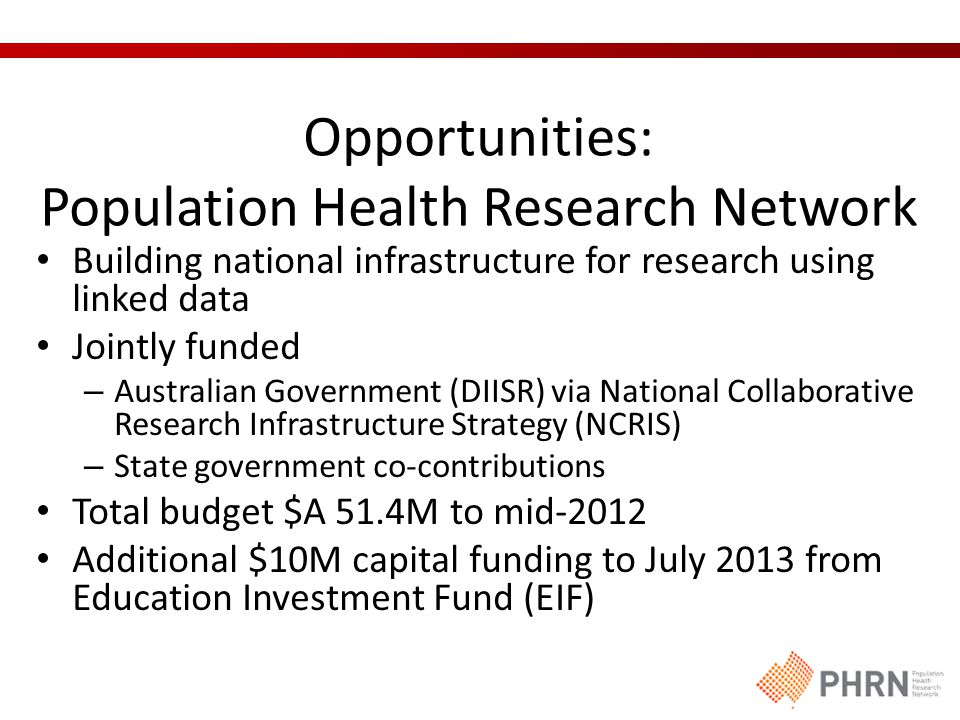 Opportunities: Population Health Research Network Building national infrastructure for research using linked data Jointly funded – Australian Government (DIISR) via National Collaborative Research Infrastructure Strategy (NCRIS) – State government co-contributions Total budget $A 51.4M to mid-2012 Additional $10M capital funding to July 2013 from Education Investment Fund (EIF)