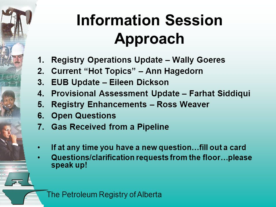 The Petroleum Registry of Alberta REGISTRY OPERATIONS UPDATE 1.Original Issues at Go-Live – Current Status 2.Performance Initiatives (40+) and Resulting Gains 3.Registry Statistics