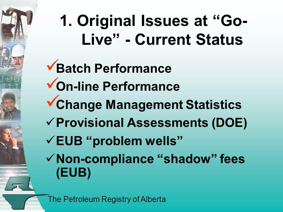 "The Petroleum Registry of Alberta 1. Original Issues at ""Go- Live"" - Current Status Batch Performance On-line Performance Change Management Statistics"