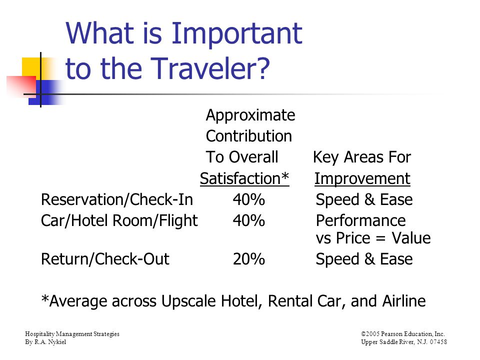 Hospitality Management Strategies©2005 Pearson Education, Inc. By R.A. NykielUpper Saddle River, N.J. 07458 What is Important to the Traveler? Approxi