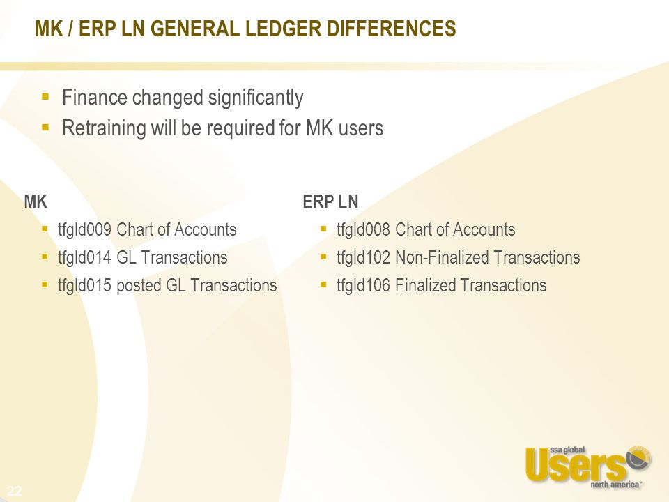 22 MK / ERP LN GENERAL LEDGER DIFFERENCES MK  tfgld009 Chart of Accounts  tfgld014 GL Transactions  tfgld015 posted GL Transactions ERP LN  tfgld008 Chart of Accounts  tfgld102 Non-Finalized Transactions  tfgld106 Finalized Transactions  Finance changed significantly  Retraining will be required for MK users