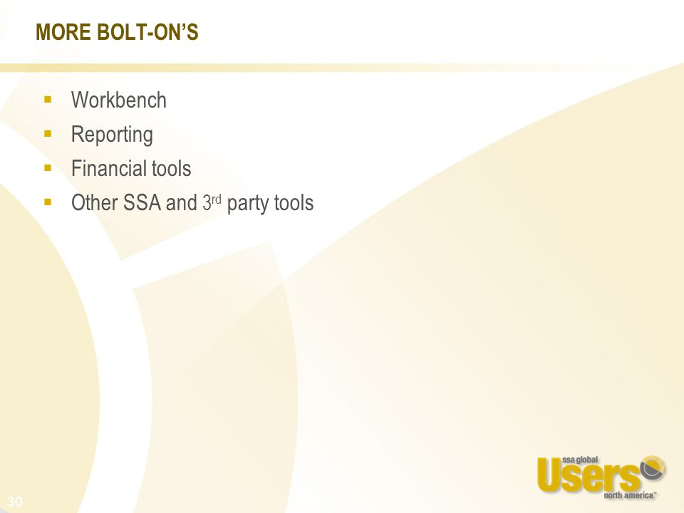 30 MORE BOLT-ON'S  Workbench  Reporting  Financial tools  Other SSA and 3 rd party tools