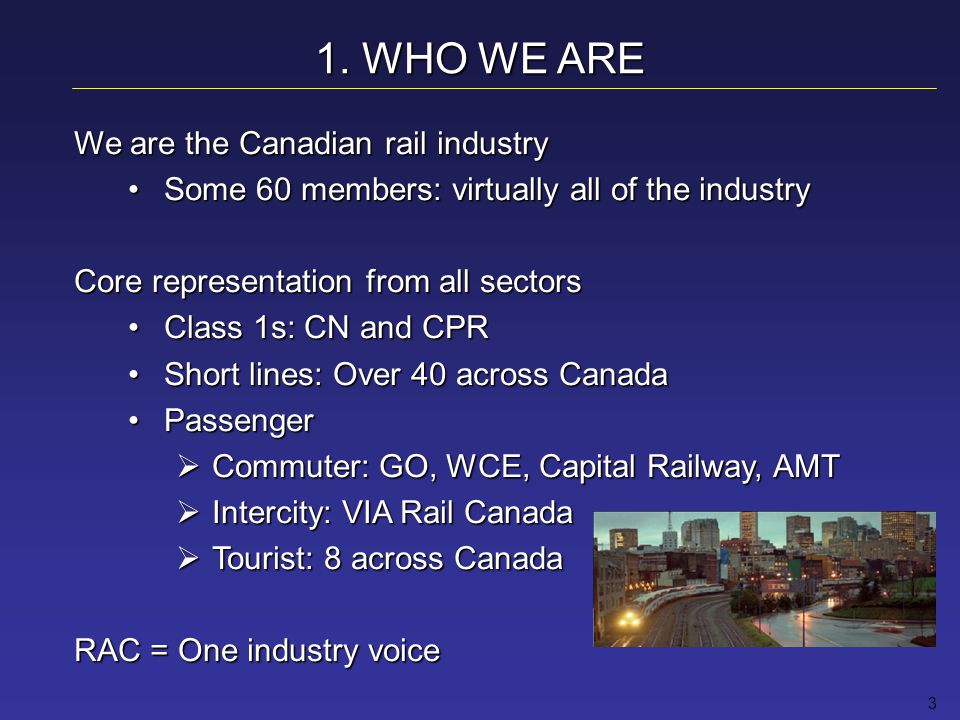 14 MEETING THE CHALLENGE Capacity, Efficiency, Modernization Gains in efficiency & capacity derived from improved technologies, asset utilization & operating practicesGains in efficiency & capacity derived from improved technologies, asset utilization & operating practices CN, CPR agreements to increase joint capacityCN, CPR agreements to increase joint capacity CN & BNSF streamline traffic through Vancouver, Chicago, Memphis & southern IllinoisCN & BNSF streamline traffic through Vancouver, Chicago, Memphis & southern Illinois Short lines & the Class 1s working togetherShort lines & the Class 1s working together GO Transit & VIA Rail: joint fares, through ticketsGO Transit & VIA Rail: joint fares, through tickets VIA partners with national & international tour operatorsVIA partners with national & international tour operators