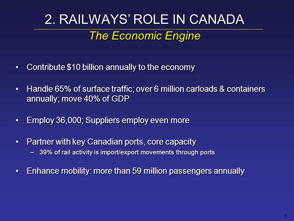 5 2. RAILWAYS' ROLE IN CANADA The Economic Engine Contribute $10 billion annually to the economyContribute $10 billion annually to the economy Handle