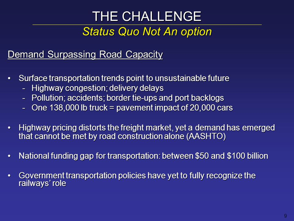 10 THE CHALLENGE Current Outlook: Global Context Meeting Demand – A Global Issue Pressure of population growth on citiesPressure of population growth on cities Costs of building & operating infrastructureCosts of building & operating infrastructure EU tradition: support rail/transit/intermodal transportationEU tradition: support rail/transit/intermodal transportation –Diverse initiatives to shape and control demand –Renewed EU emphasis on rail freight (vs.