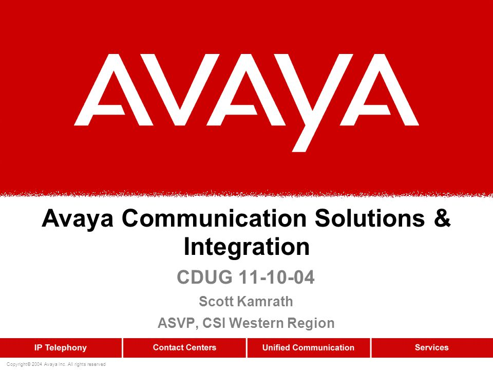 Copyright© 2004 Avaya Inc.