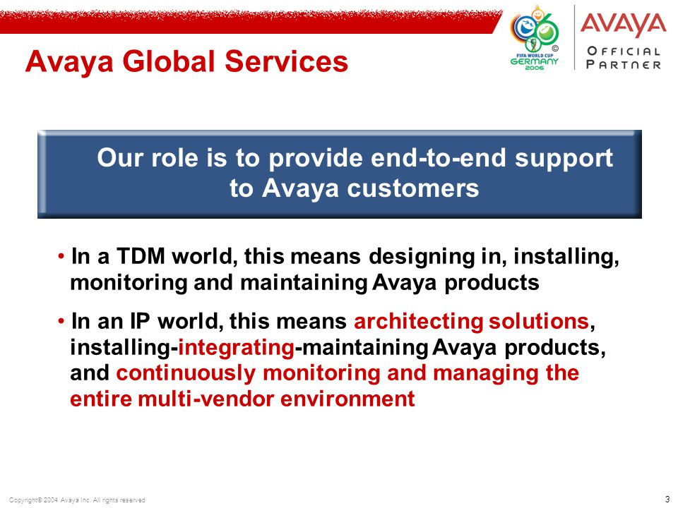 3 Copyright© 2004 Avaya Inc. All rights reserved Avaya Global Services Our role is to provide end-to-end support to Avaya customers In a TDM world, th