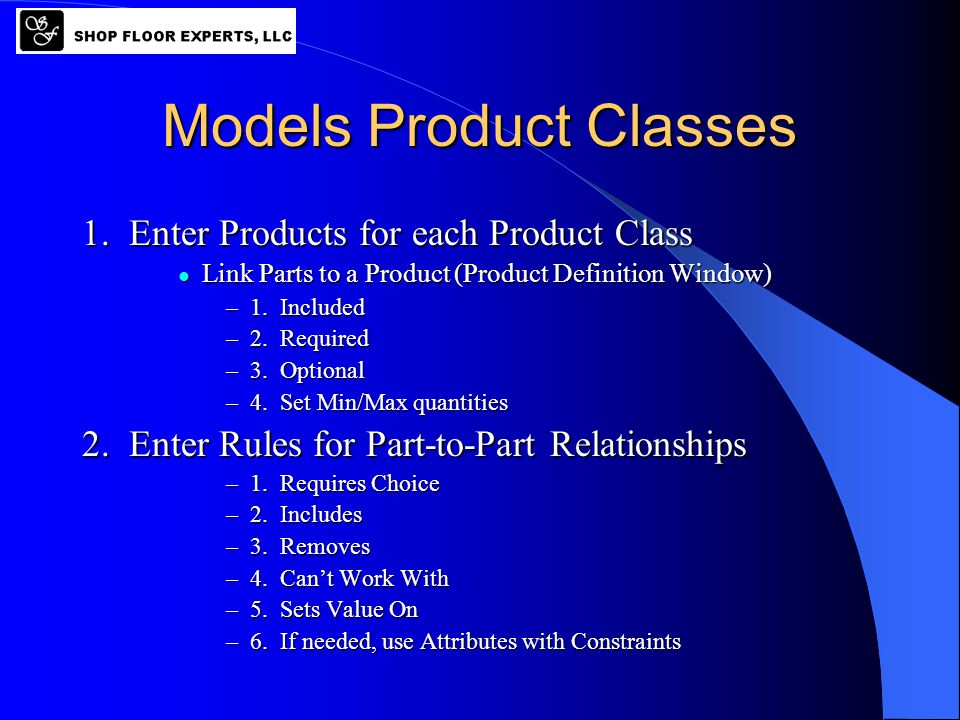 Models Product Classes 1. Enter Products for each Product Class Link Parts to a Product (Product Definition Window) Link Parts to a Product (Product D