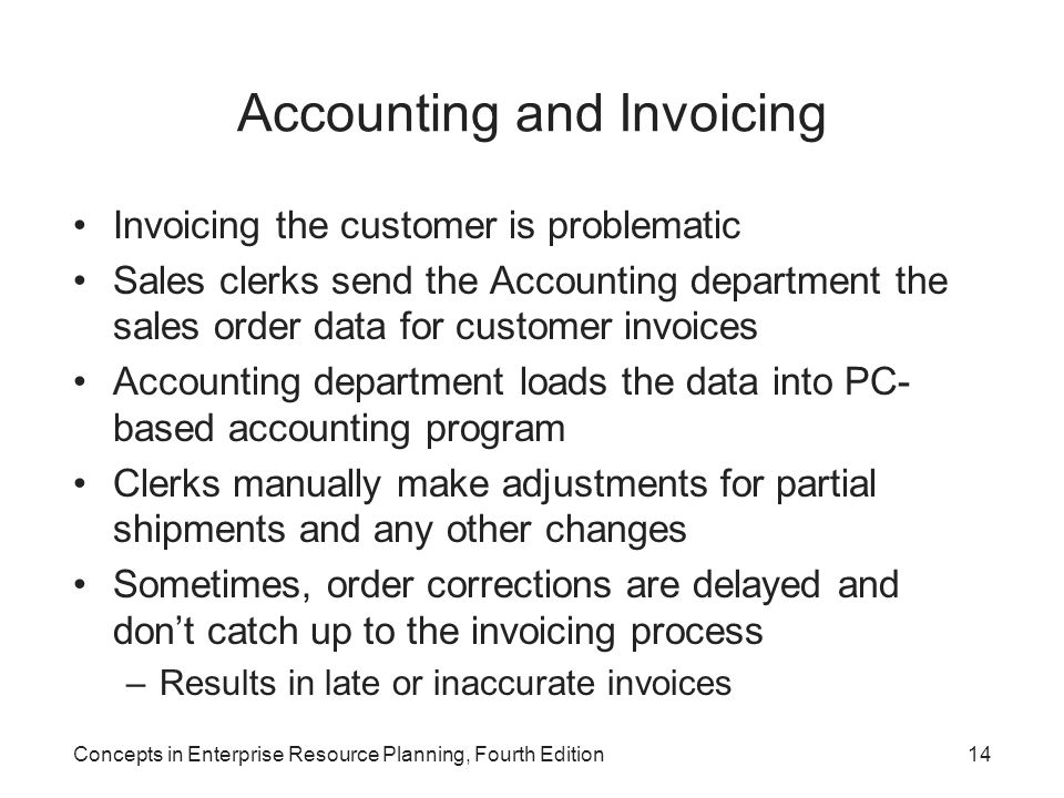 Concepts in Enterprise Resource Planning, Fourth Edition14 Accounting and Invoicing Invoicing the customer is problematic Sales clerks send the Accoun