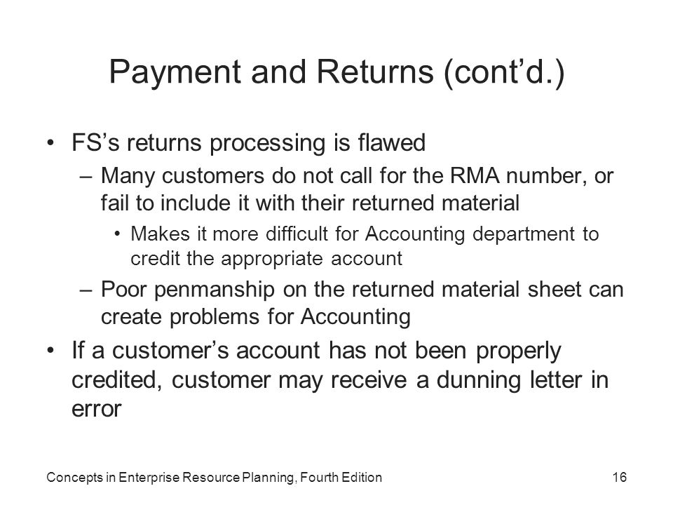 Concepts in Enterprise Resource Planning, Fourth Edition16 Payment and Returns (cont'd.) FS's returns processing is flawed –Many customers do not call
